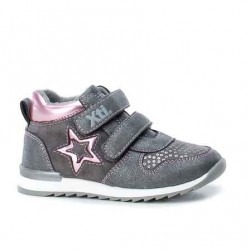 Zapatillas altas velcro color gris niña